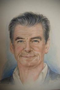 """Pierce Brosnan"", 2016, pastello"