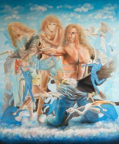 """""""Mascere e volti"""", olio su tela, 100x120 cm, 2016"""