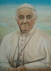 """""""Papa Francesco"""", 2014, olio su tela"""